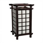 Oriental Furniture Japanese Ido 17'' Table Lamp; Dark Walnut