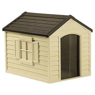 Suncast Deluxe Dog House in Tan &