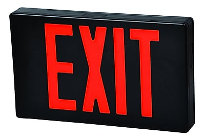 Morris Products LED Exit Sign in Red LED and Black Housing w/ Battery Backup