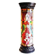 Chloe Lighting Ruby Spectacle Tiffany-Glass 2-Light Victorian 30'' Pedestal Floor Light Fixture