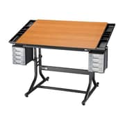 Alvin and Co. CraftMaster II Wood Drafting Table; Black Base & Cherry Top by