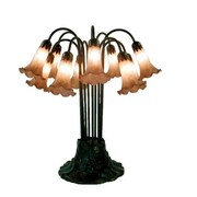 Warehouse of Tiffany Lily 22'' Table Lamp; Amber/Purple