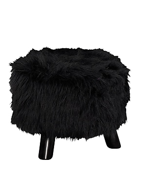 Linon Faux Flokati Foot Stool, Black