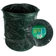 Stalwart Plastic Pop-Up Trash Can with Lid, Green