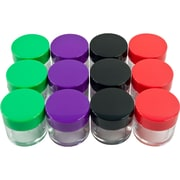 Stalwart™ 20 ml Color Coded Plastic Jar Set, Red/Green/Purple/Black, 12 Pieces/Set