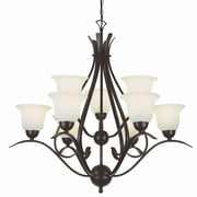 TransGlobe Lighting Contemporary 9-Light Shaded Chandelier; Rubbed Oil Bronze