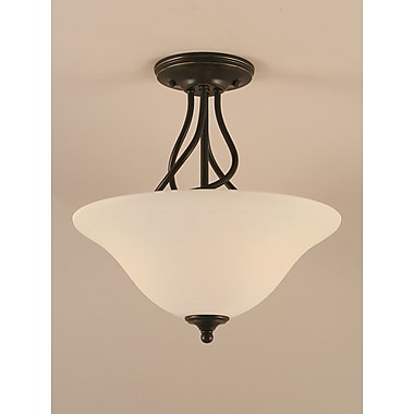 Toltec Lighting Capri 3-Light Semi-Flush Mount; White Linen
