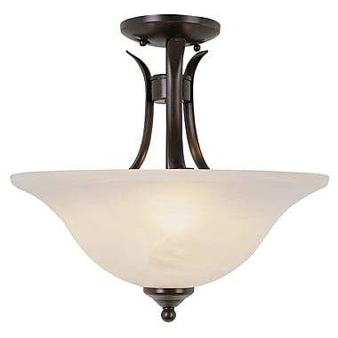TransGlobe Lighting 2-Light Semi Flush Mount; Rubbed Oil Bronze