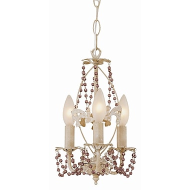 TransGlobe Lighting Crystal Flair 3-Light Semi Flush Mount