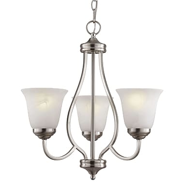 TransGlobe Lighting 3-Light Shaded Chandelier; Brushed Nickel