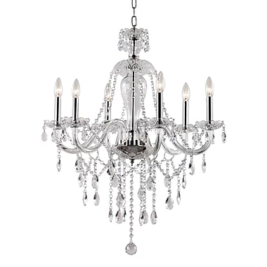 TransGlobe Lighting Crystal Fountain 6 Light Chandelier