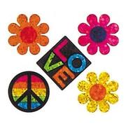 Jillson & Roberts Prismatic Bulk Roll Peace Love Flower Sticker