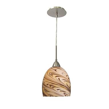 Woodbridge Art Glass 1-Light Mini Pendant; Satin Nickel