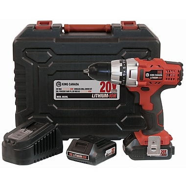 King Canada Lithium Ion Cordless Drill Kit, 20V