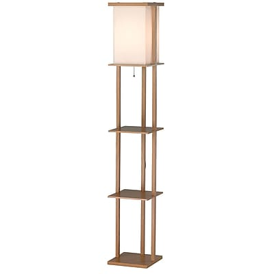 Adesso® Barbery 150 W Floor Lamp With 3 Shelves, Oak