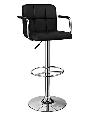 Powell Furniture Chrome Quilted Metal Barstool Black