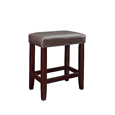 Powell Furniture Croc 24'' Modern Foot Ring/Bar Faux Leather Bar Stool, Brown (358-885X)