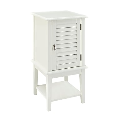 Powell Shutter Door Wood Accent Table, White, Each (929-352)