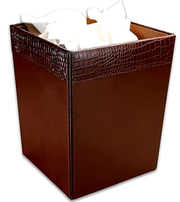 Dacasso 2000 Series Crocodile Embossed Leather 3.5 Gallon Waste Basket; Brown