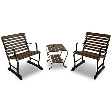 Ivy Terrace Vintage 3 Piece Seating Group; Black/Mahogany