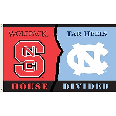 BSI Products NCAA Rivalry House Divided Traditional Flag; North Carolina vs. North Carolina State