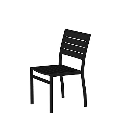 POLYWOOD Euro Stacking Patio Dining Chair; Textured Bronze Aluminum Frame / Black