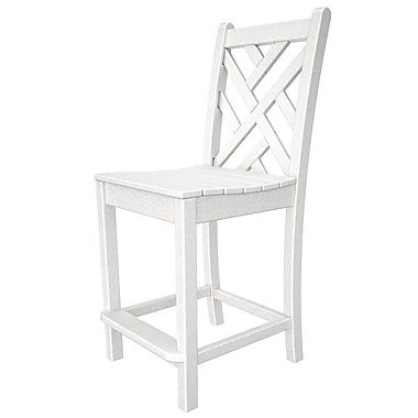 POLYWOOD Chippendale 24'' Patio Bar Stool; White