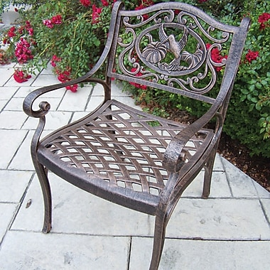 Oakland Living Hummingbird Dining Arm Chair; Antique Bronze