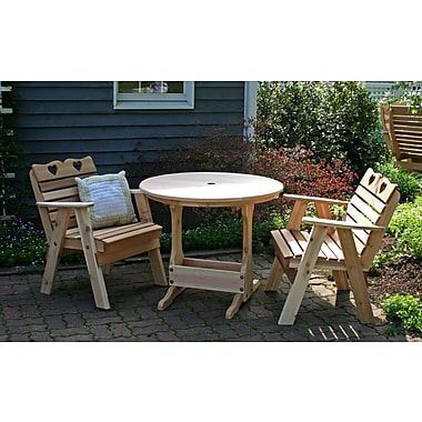 Creekvine Designs Cedar Country Hearts Bistro Set; White Stain