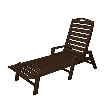 POLYWOOD Nautical Chaise Lounge; Mahogany