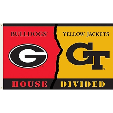BSI Products NCAA Rivalry House Divided Traditional Flag; Georgia vs. Georgia Tech