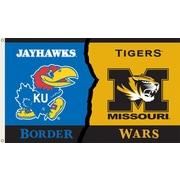 BSI Products NCAA Rivalry House Divided Traditional Flag; Kansas vs. Missouri