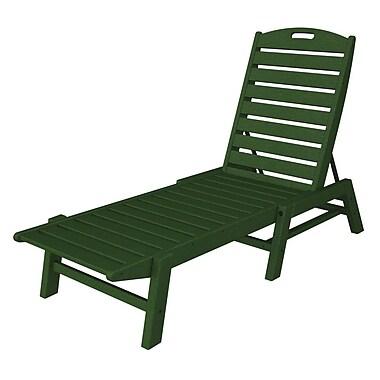 POLYWOOD Nautical Chaise Lounge ; Green