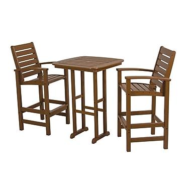 POLYWOOD Signature 3 Piece Bar Height Dining Set; Teak