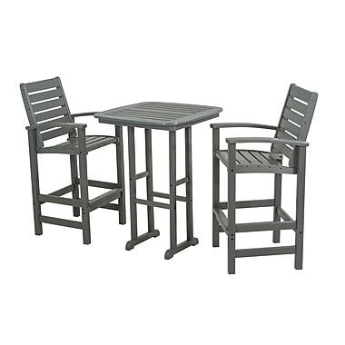 POLYWOOD Signature 3 Piece Bar Height Dining Set; Slate Grey