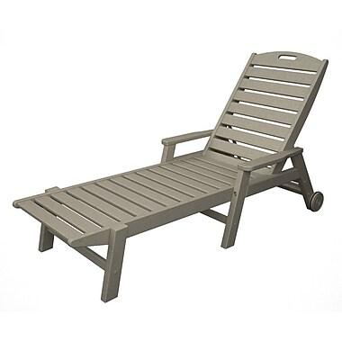 POLYWOOD Nautical Chaise Lounge w/ Arms; Sand