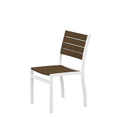 POLYWOOD Euro Stacking Patio Dining Chair; Textured White Aluminum Frame / Teak