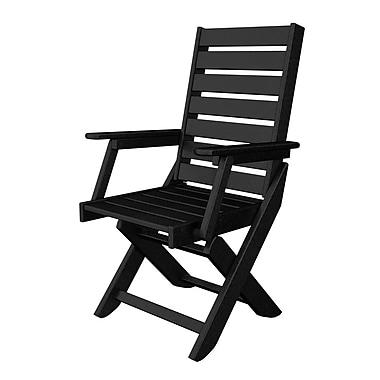 POLYWOOD Captain Folding Patio Dining Chair; Black