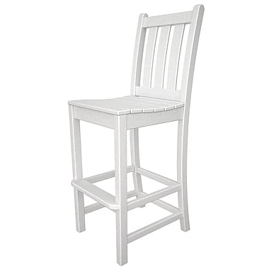 POLYWOOD Traditional 30'' Patio Bar Stool; White
