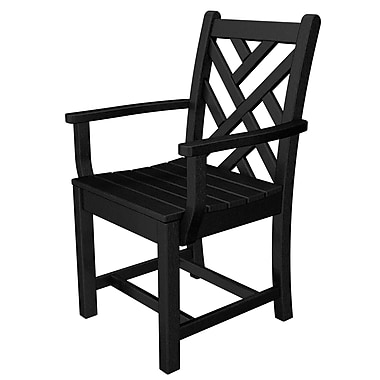 POLYWOOD Chippendale Patio Dining Chair; Black