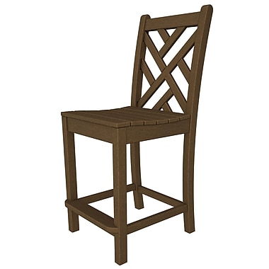 POLYWOOD Chippendale 24'' Bar Stool; Teak