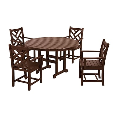 POLYWOOD Chippendale 5 Piece Dining Set; Mahogany