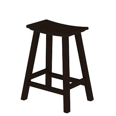 POLYWOOD Traditional 24'' Bar Stool; Mahogany
