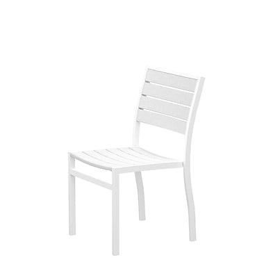 POLYWOOD Euro Stacking Patio Dining Chair; Textured White Aluminum Frame / White