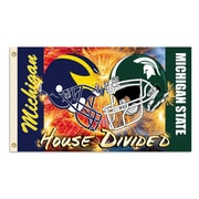 BSI Products NCAA Rivalry House Divided Traditional Flag; Michigan vs. Michigan State - Helmet