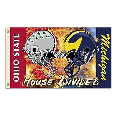 BSI Products NCAA Rivalry House Divided Traditional Flag; Michigan vs. Ohio State - Helmet