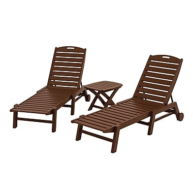 POLYWOOD Nautical 3 Piece Chaise Set; Mahogany