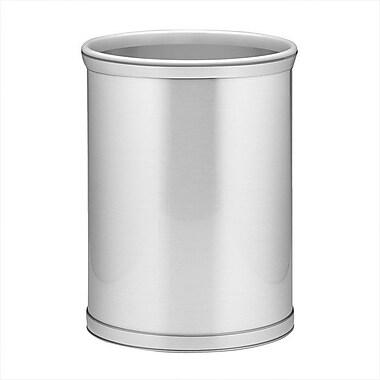 Kraftware Mylar 3.25 Gallon Waste Basket; Brushed Chrome / Chrome Band