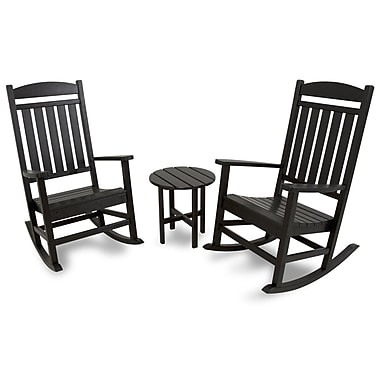 Ivy Terrace 3 Piece Rocker Seating Group; Black