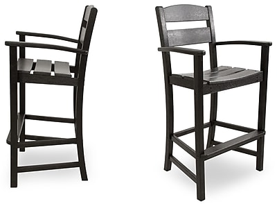 Ivy Terrace Classics 30.13'' Patio Bar Stool (Set of 2); Black